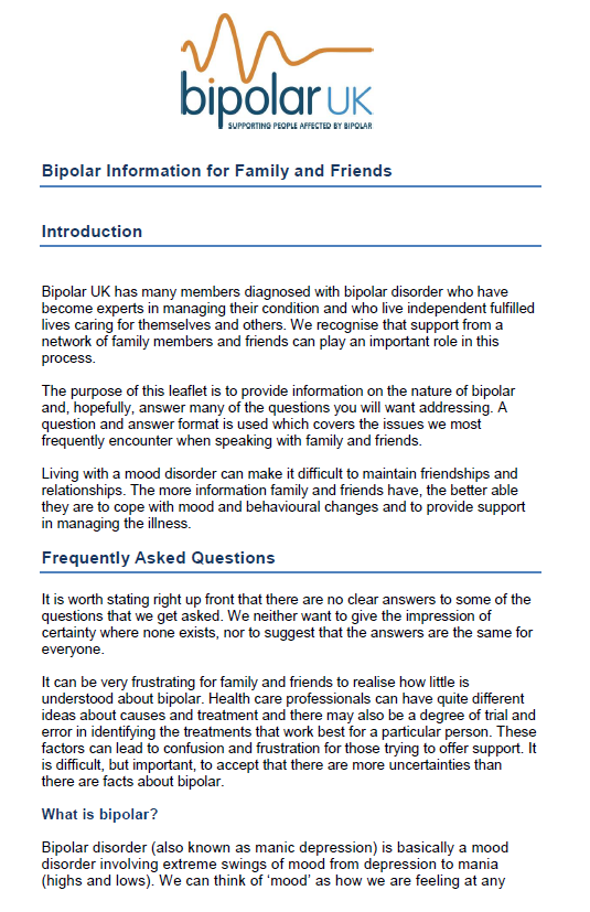 Bipolar UK - Leaflet for family and friends