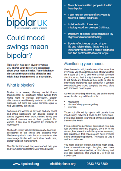 Could mood swings mean bipolar? Download our leaflet about bipolar and its symptoms.