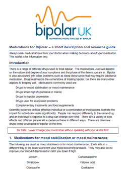 Bipolar UK Introduction to Medication leaflet